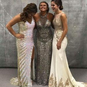 Silver beaded halter neck full length size 2 dress